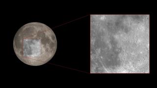 한 영역이 확대 된 달의 회색 색조 이미지