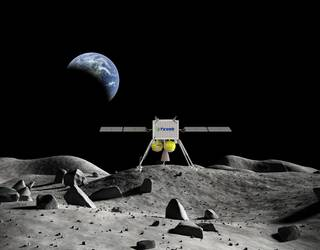 Artist's concept of a Tyvak commercial lander on the Moon.