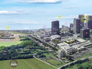 Concetto di artista della mobilità aerea urbana, che mostra 11 veicoli con passeggeri e 10 veicoli senza passeggeri.