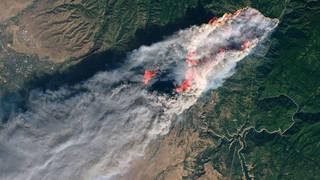 Camp Fire on Nov. 8 from the Landsat 8 satellite