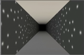view of a virtual reality simulation, which details a long, gray corridor