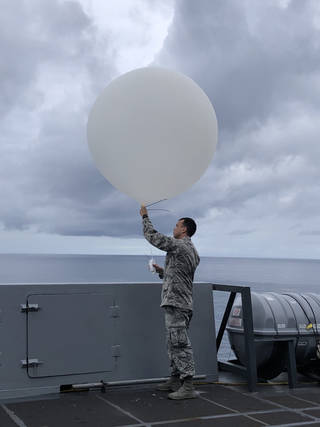 Senior Airman Kyle Boyes of the U.S. Air Force's 45th Weather Squadron
