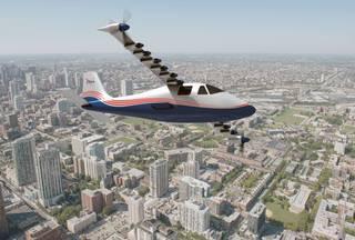 artist's concept of NASA's X-57 Maxwell aircraft