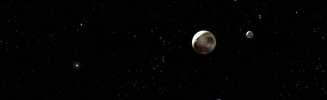 'Artist view' af Pluto og dens største måne Charon