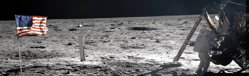 Neil Armstrong on the lunar surface.