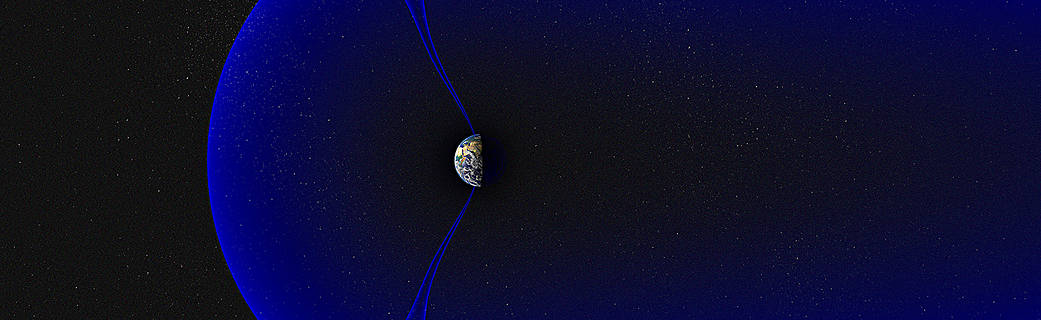 Earth's magnetosphere, showing the polar cusps