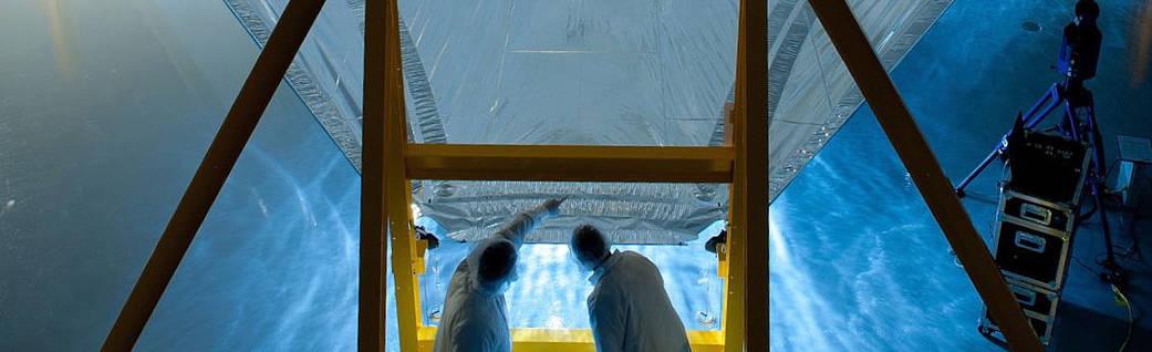 One full-scale Webb telescope sunshield membrane deployed on the membrane test fixture.
