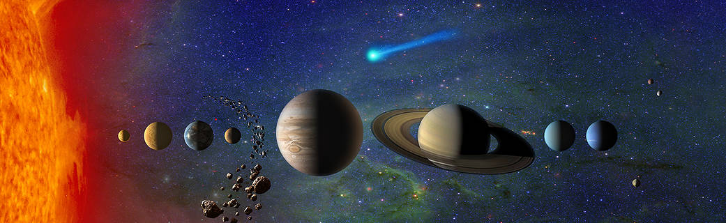 Illustration of our solar system. Not to scale.