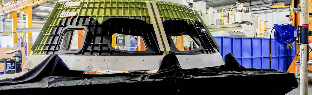 The Artemis III Orion cone panel with openings for windows