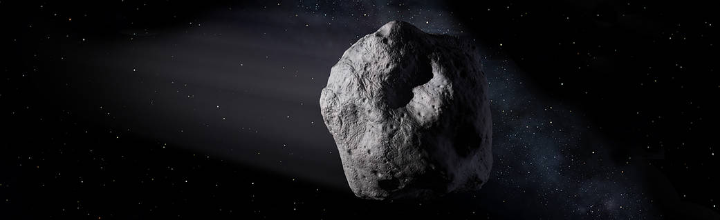 An illustration of an asteroid in space