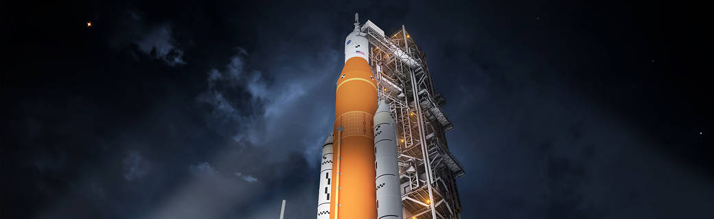 Illustration of Space Launch System.