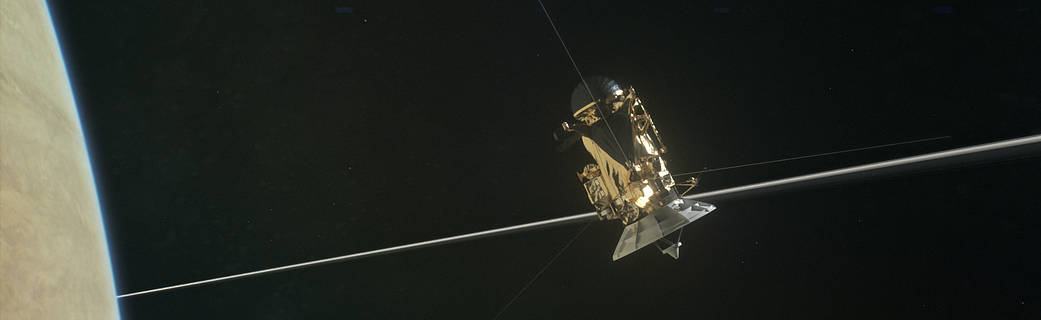 Illustration:Cassini spacecraft above Saturn