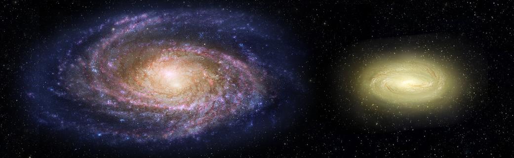 den fjerne galakse MACS2129-1 sammenlignet med Mælkevejen tv.