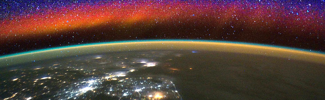 view of Earth's limb and air glow (composite)