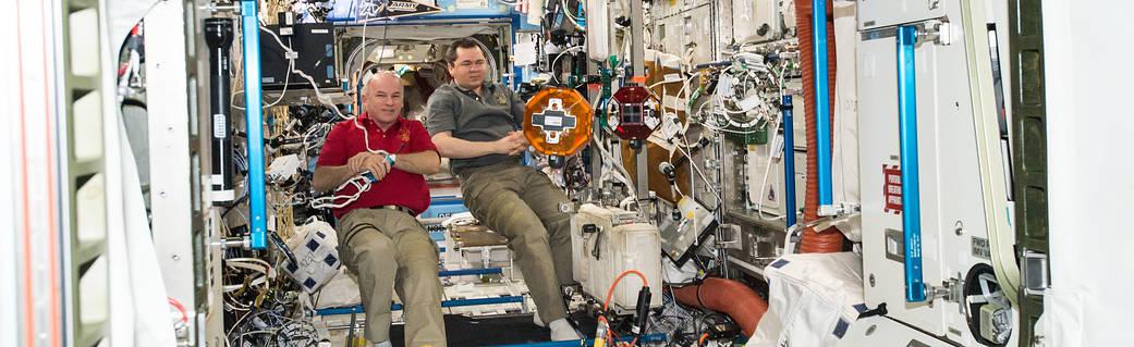 NASA astronaut Jeff Williams, left, and Russian cosmonaut Oleg Skripochka