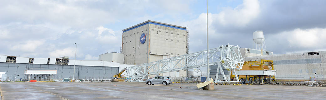 Roof and equipment damage was sustained today at NASA's Michoud Assembly Facility in New Orleans, Louisiana