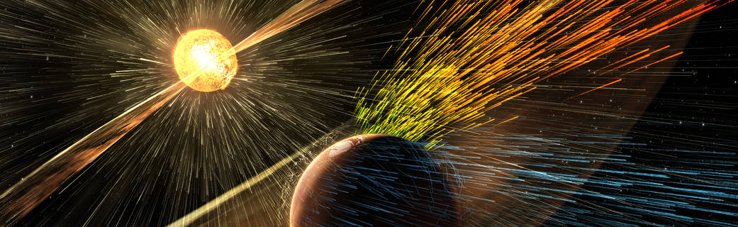 illustration depicting stripping away of Mars' atmosphere by solar wind