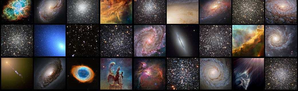 collage of Hubble Messier object images and portrait of Messier