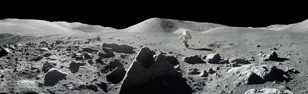 Panorama view of Apollo 17 lunar surface