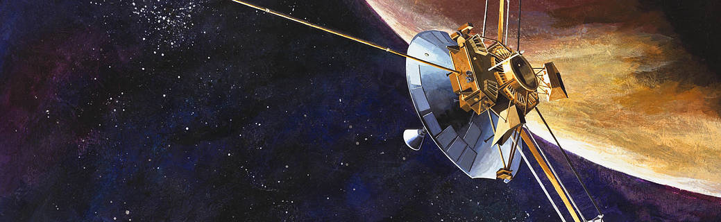 Artist's rendition of the Pioneer 10 spacecraft at Jupiter.