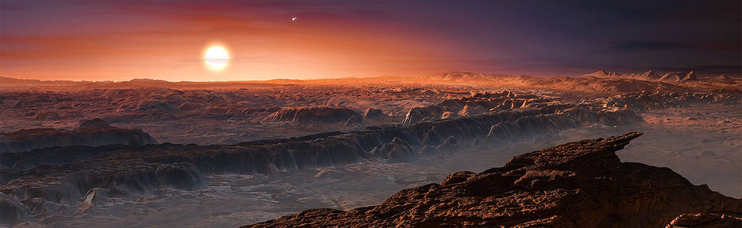 Artist's impression shows a view of the surface of the planet Proxima b orbiting the red dwarf star Proxima Centauri