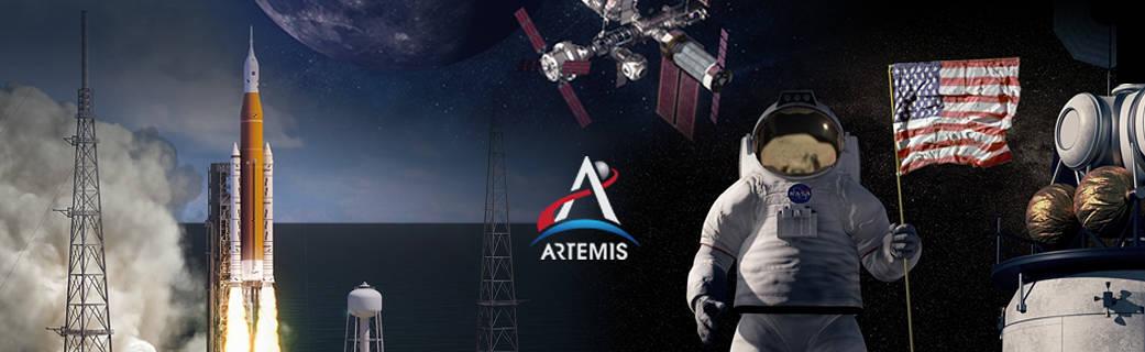 montage of images showing SLS rocket, Artemis logo, International Space Station, astronaut holding U.S. flag and lunar lander