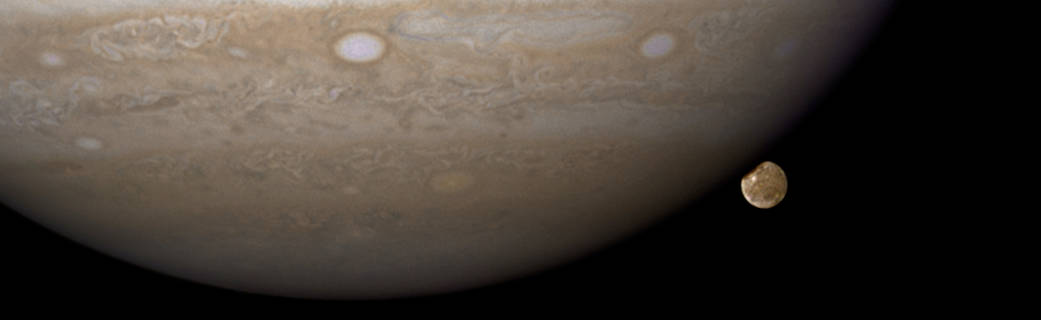 Hubble image of Jupiter and its moon Ganymede