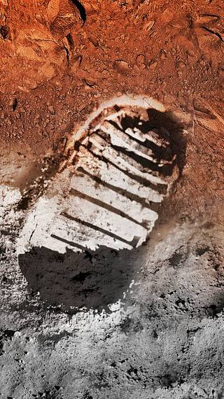 Artist's concept image of a boot print on the moon and on Mars.