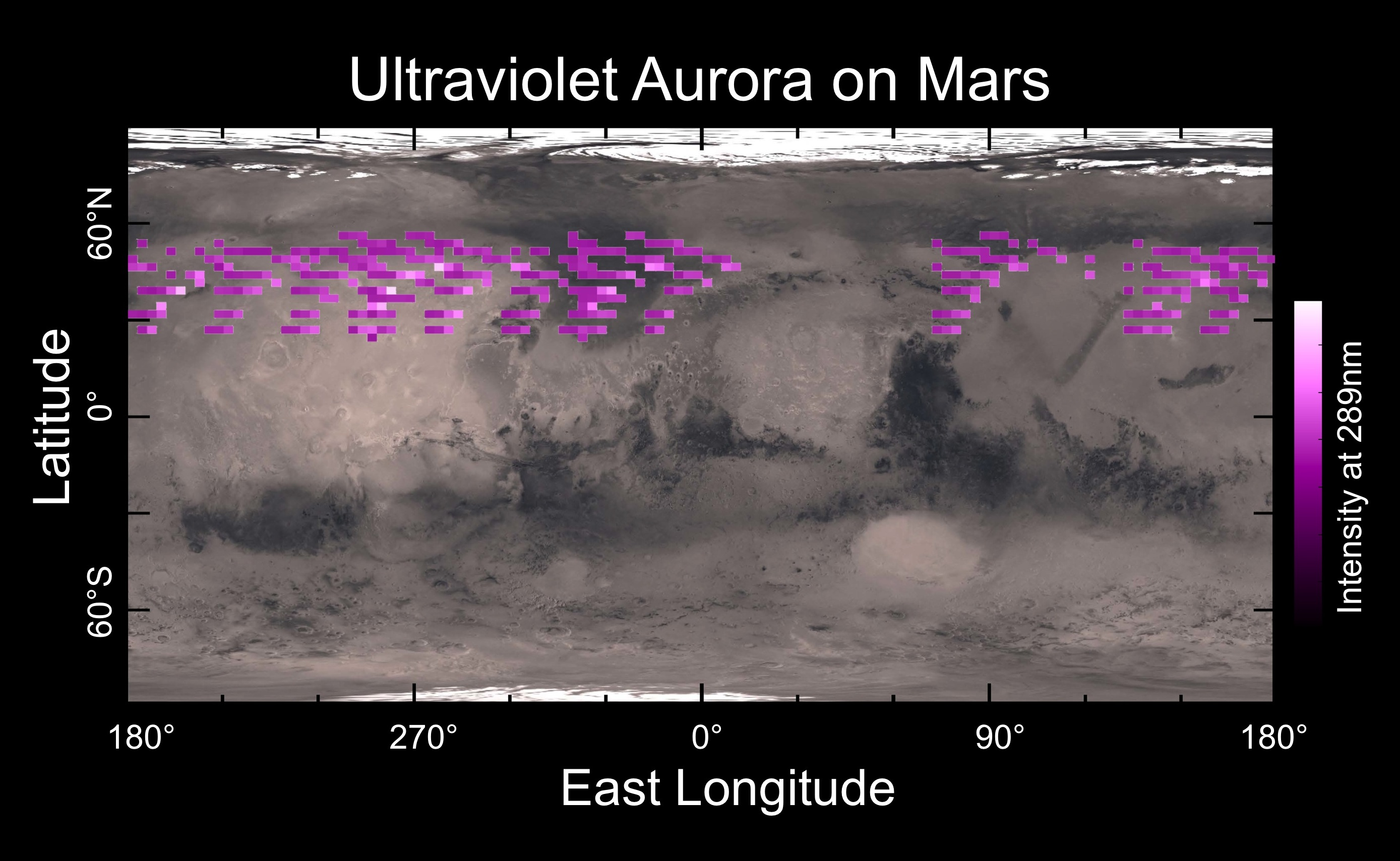A map of MAVEN's Imaging Ultraviolet Spectrograph (IUVS) auroral detections in December 2014 overlaid on Mars' surface. The map shows that the aurora was widespread in the northern hemisphere, not tied to any geographic location. The aurora was detected in all observations during a 5-day period. Credits: University of Colorado