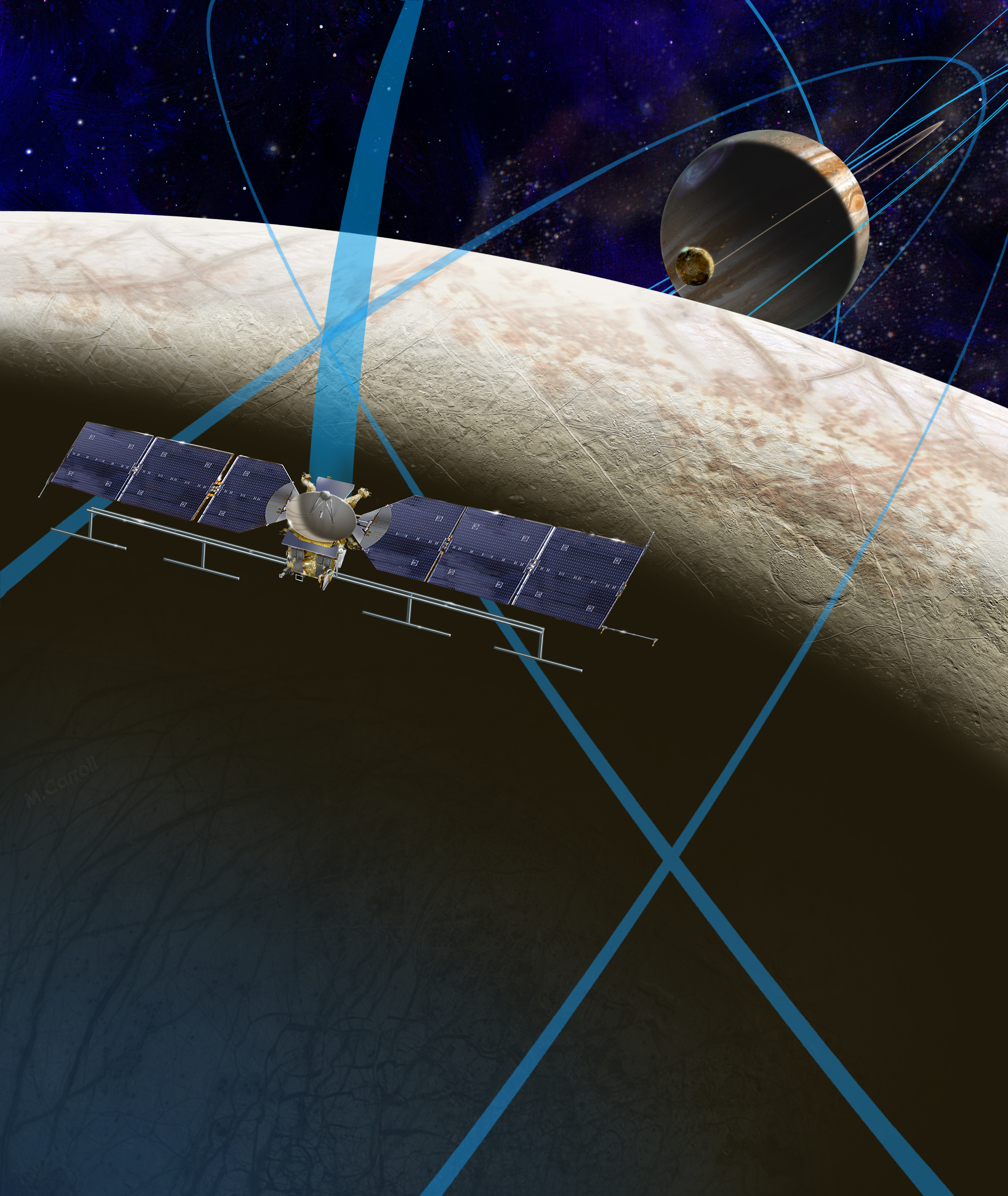 This artist's rendering shows a concept for a future NASA mission to Europa in which a spacecraft would make multiple close flybys of the icy Jovian moon, thought to contain a global subsurface ocean.