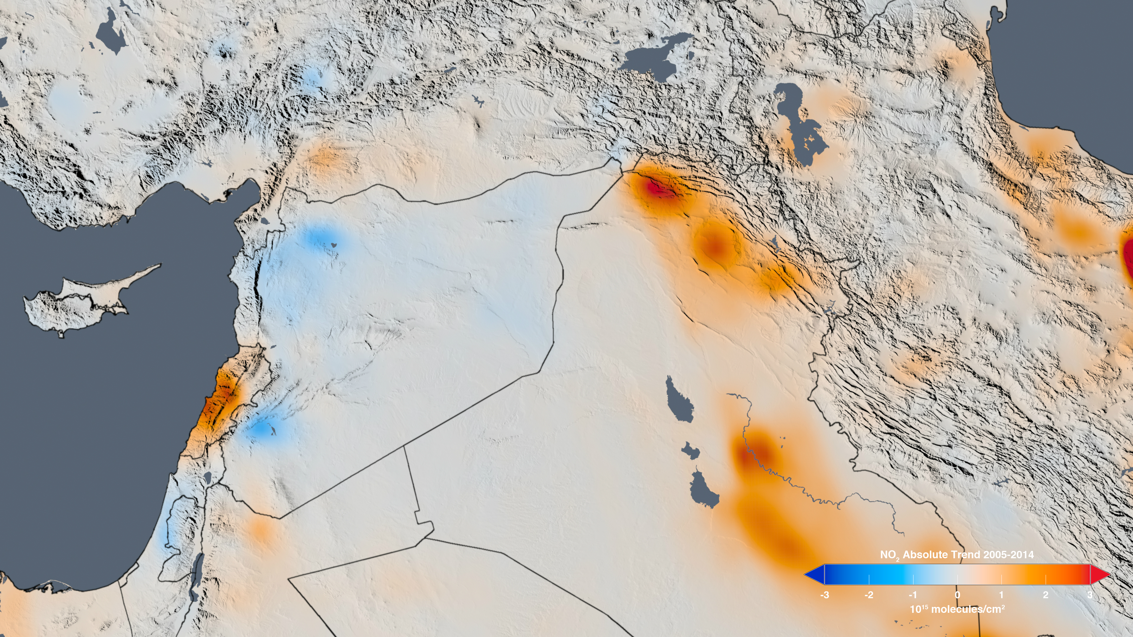 The Trend Map Of The Middle East Shows The Change In Nitrogen Dioxide Concentrations From 2005