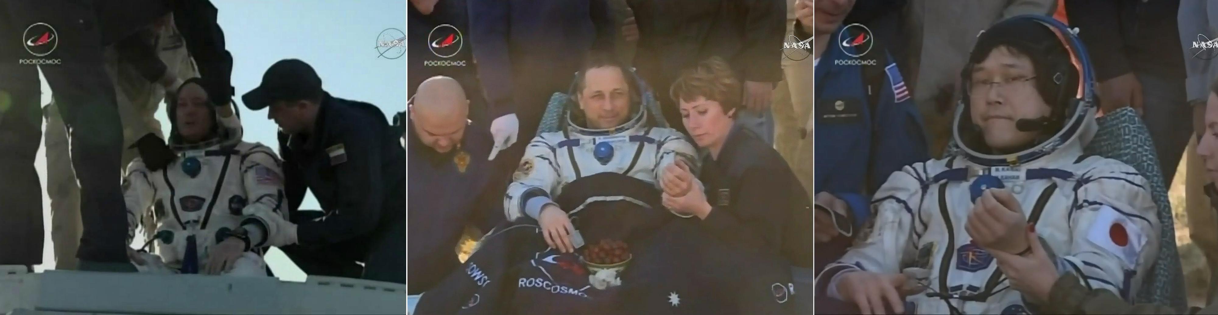 NASA宇航员,机组人员从空间站安全返回地球