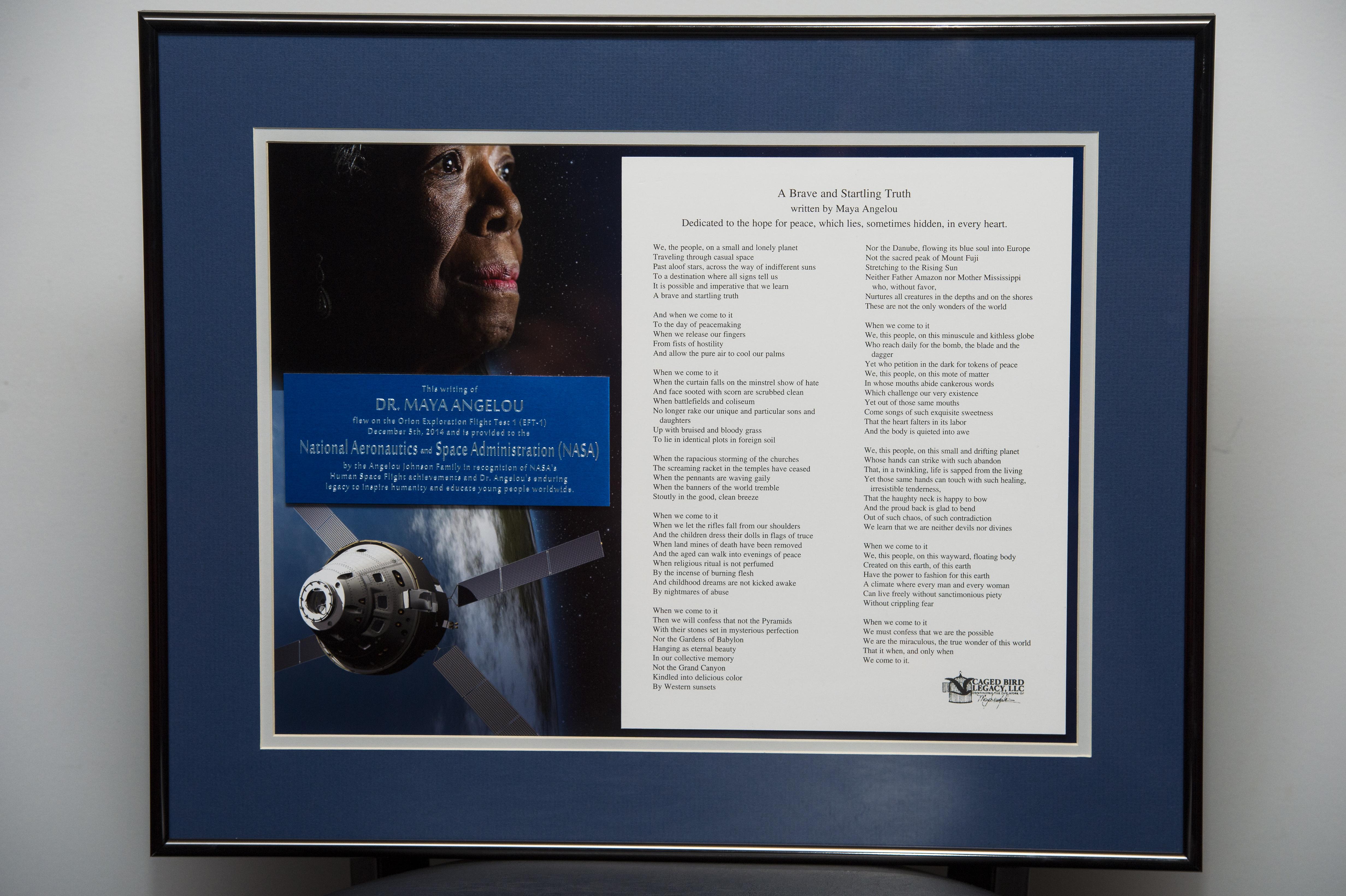 Maya Angelou Poem Flown on Orion Presented to NASA Administrator | NASA