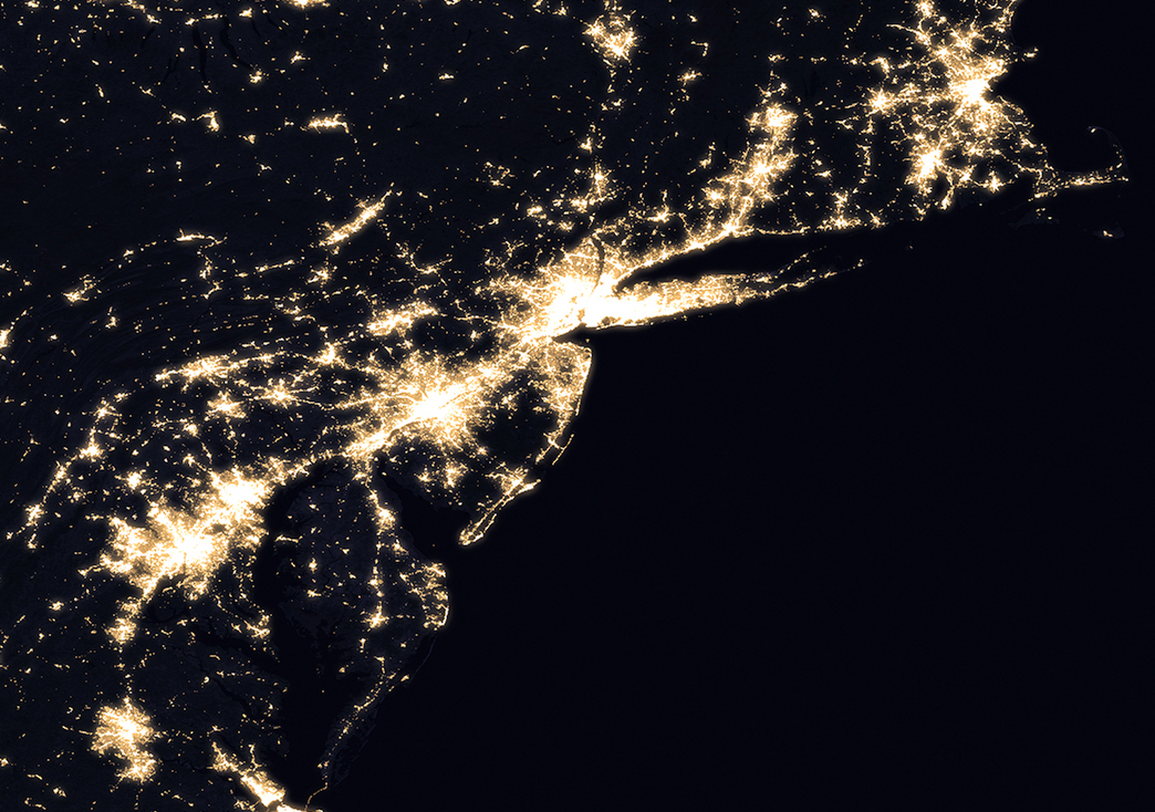 New Night Lights Maps Open Up Possible RealTime Applications NASA - Satellite map of us at night