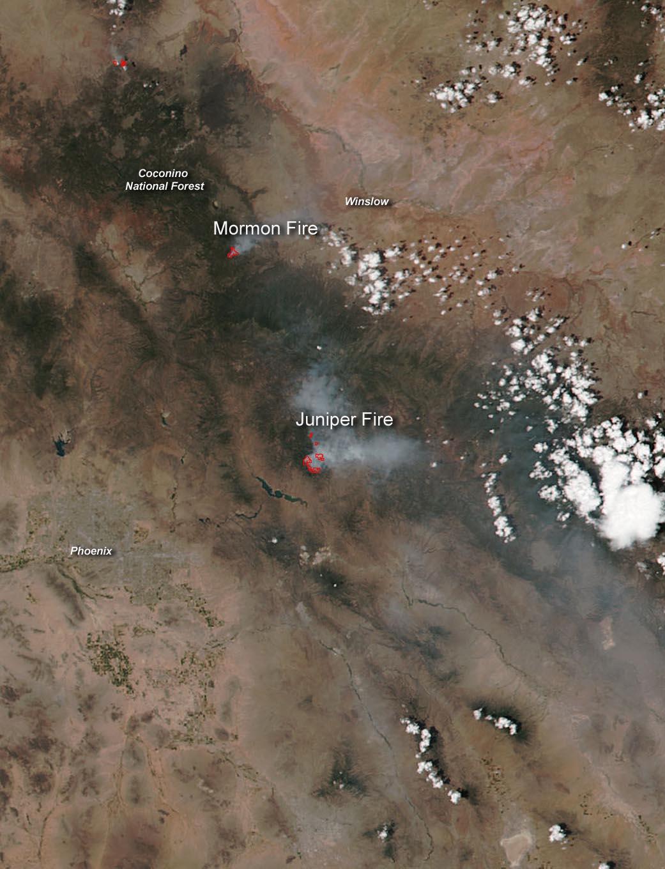Arizona Active Fire Map.Wildfires In Arizona Still Burning Nasa