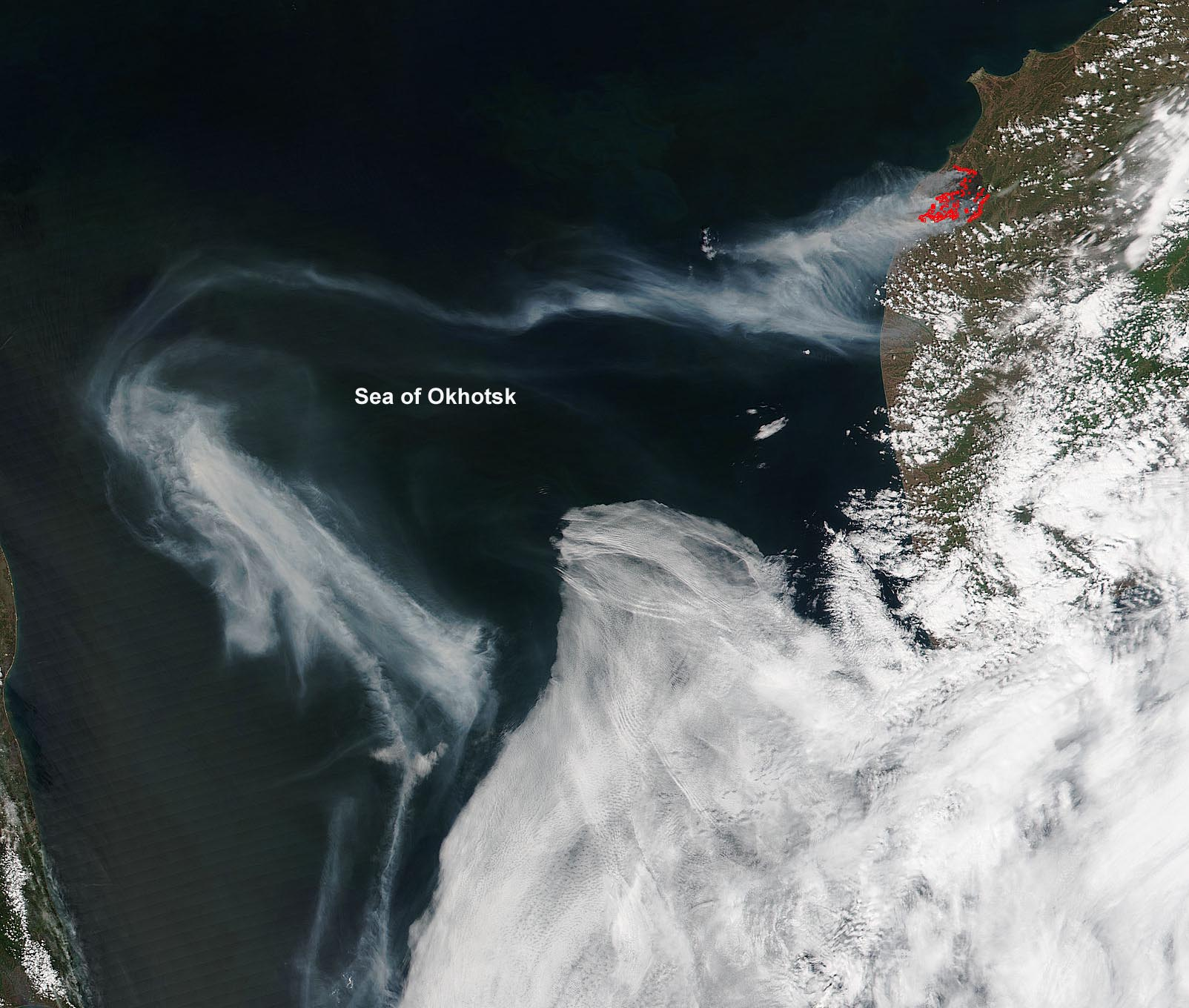 Smoke Drifts Over Sea Of Okhotsk From Kamchatka Fires Nasa