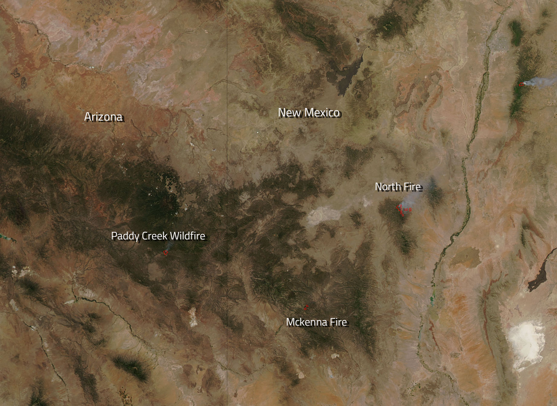 Several Fires Burn In Arizona And New Mexico NASA - Wildfires map in southeastern us