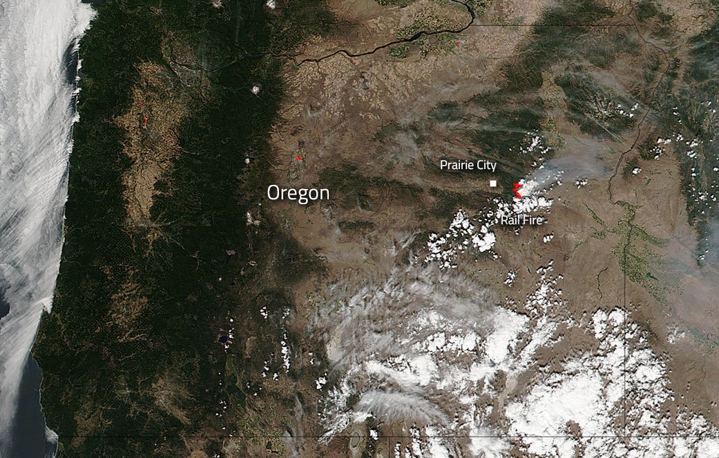 Rail Fire in Oregon Still Burning Bright NASA