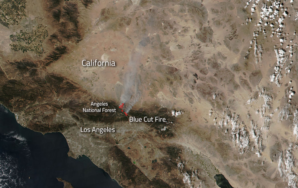 NASA satellite imagery shows the monstrous Blue Cut Fire in California. (NASA)