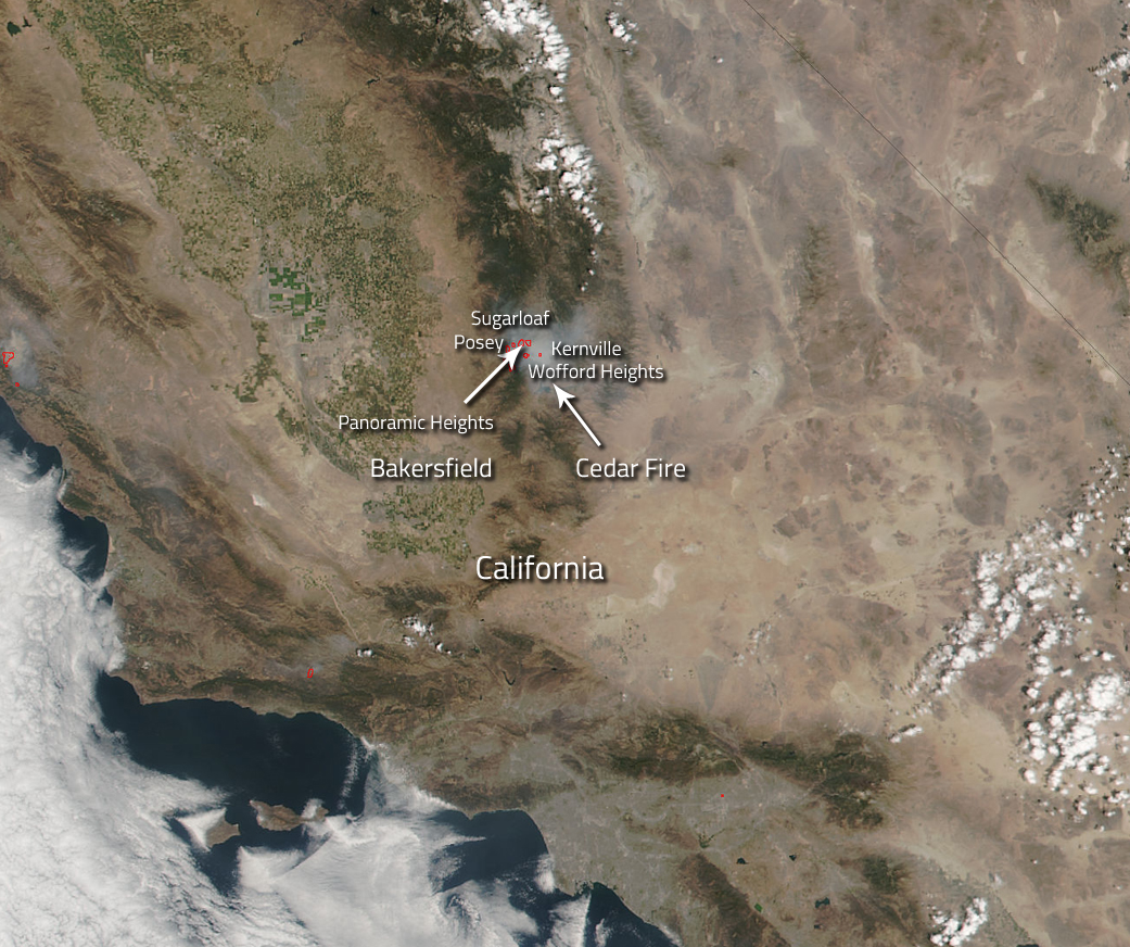 Californias Cedar Fire Continues To Threaten Outlying Communities - Cedar fire map