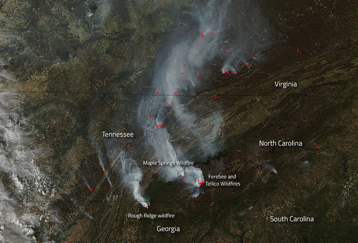 Wildfires Abound In U S Southern States Nasa