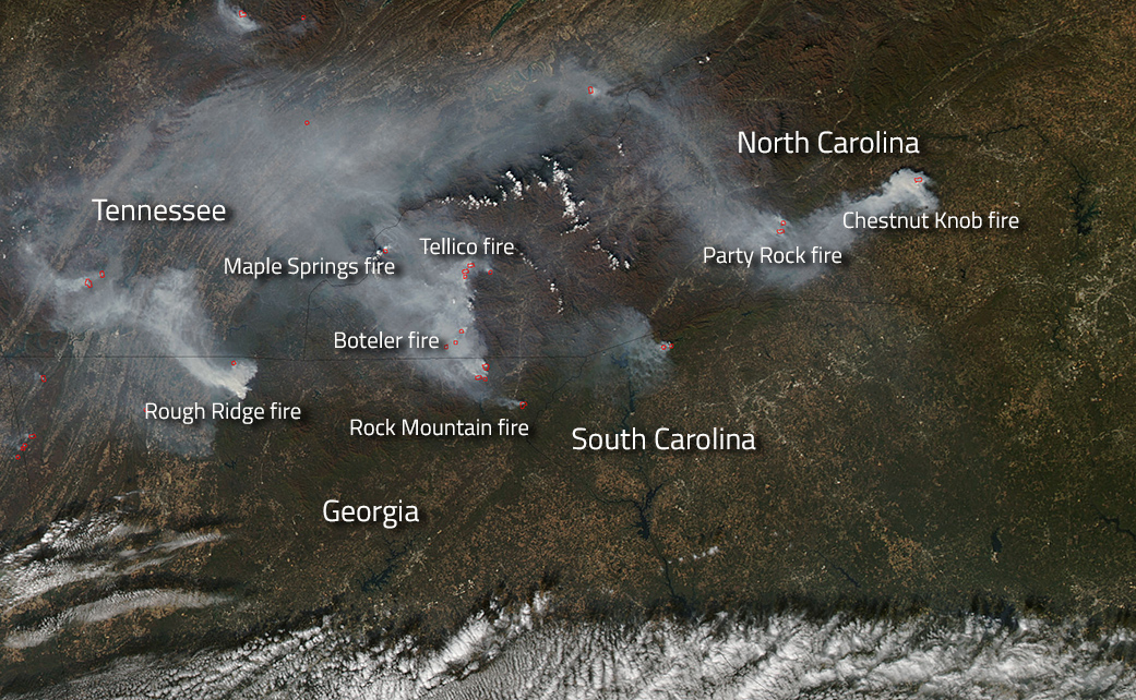 aqua image of fires in southern u s