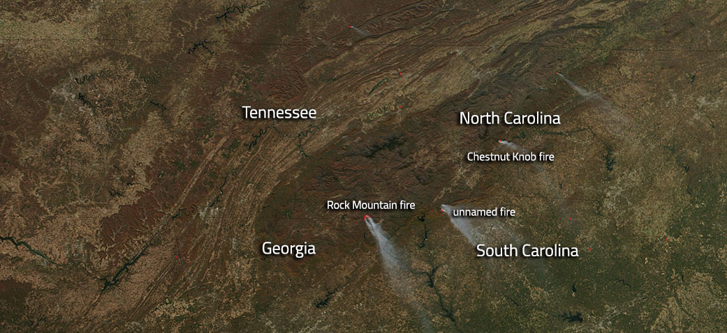 Wildfires Cross Much Of Southeastern United States NASA - Fire map southeast us