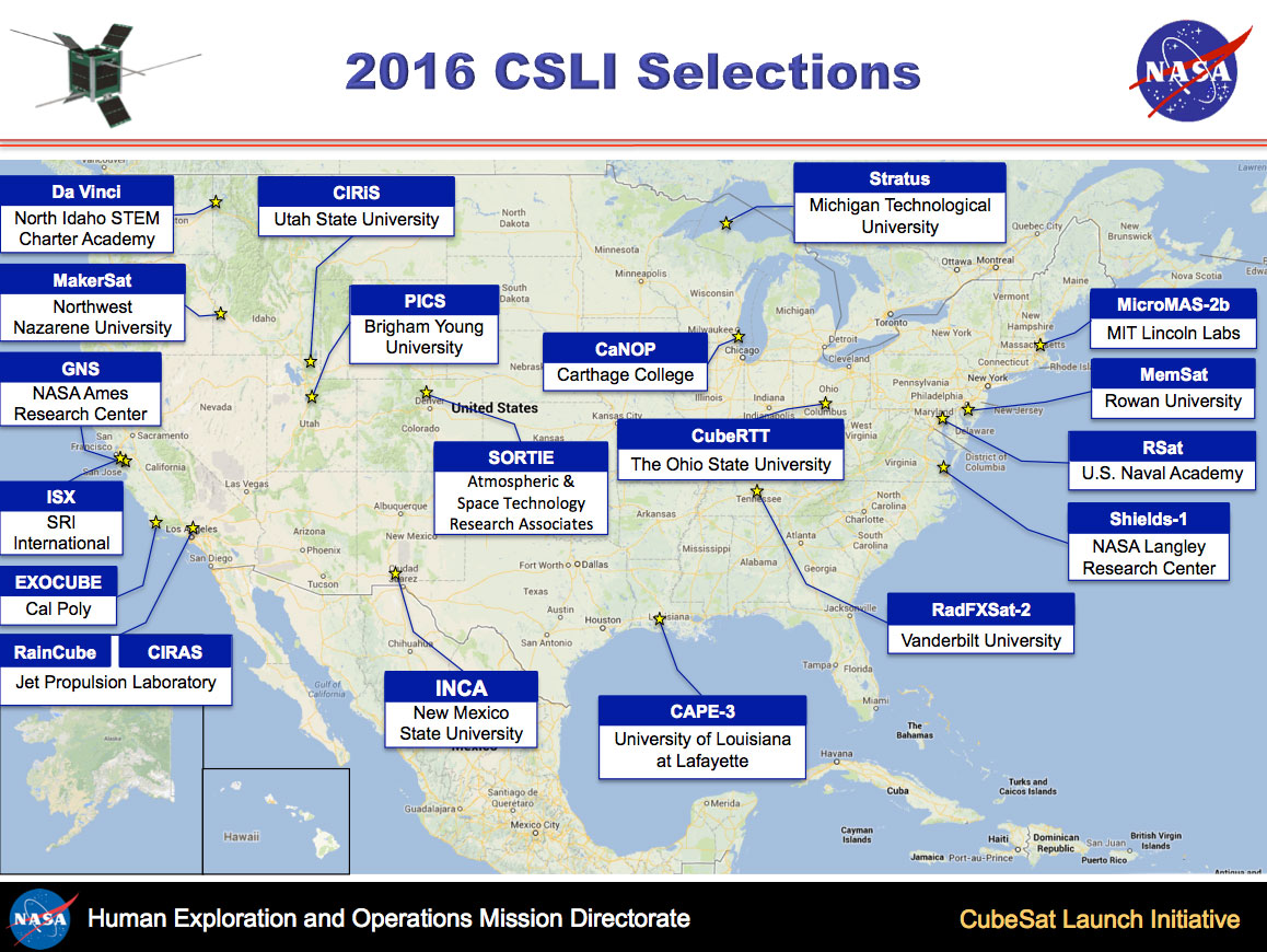 NASA Announces Seventh Round Of Candidates For CubeSat Space Missions - The crew us map