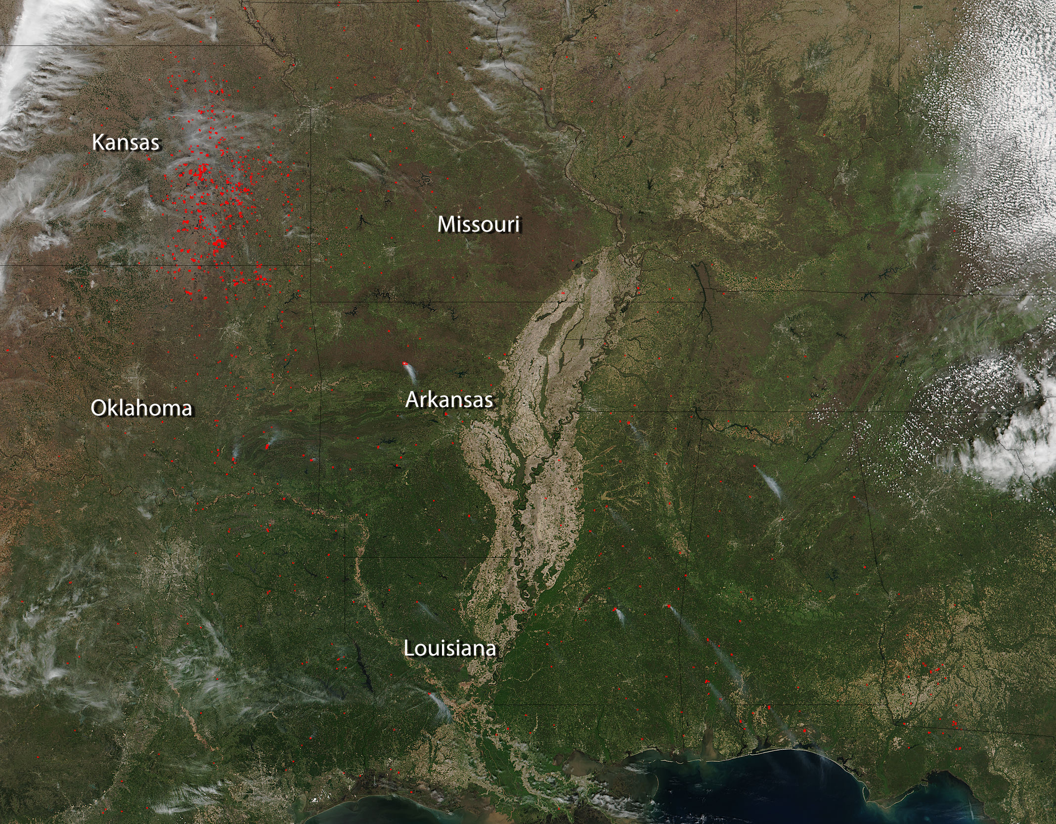 Wildfires Plague Central United States NASA - Map of fires in southeast us