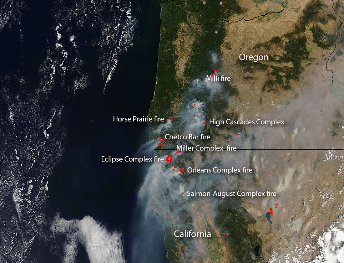 Pacific Northwest Sees Spate of Fires NASA