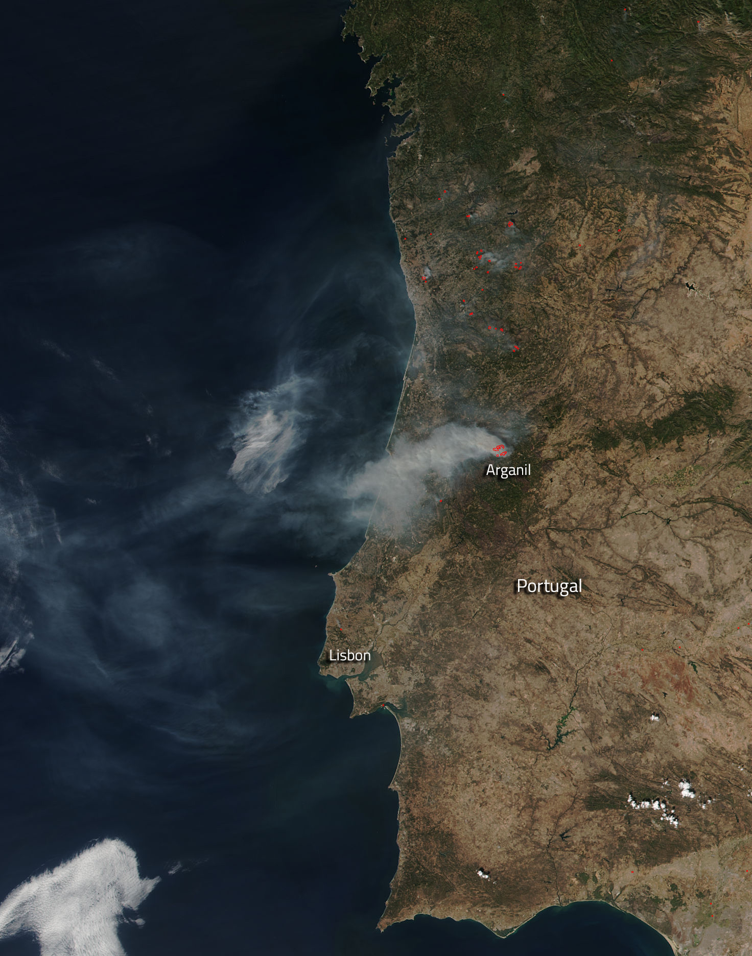 Wildfires Continue In Portugal Amid SkyHigh Temperatures NASA - Portugal map satellite