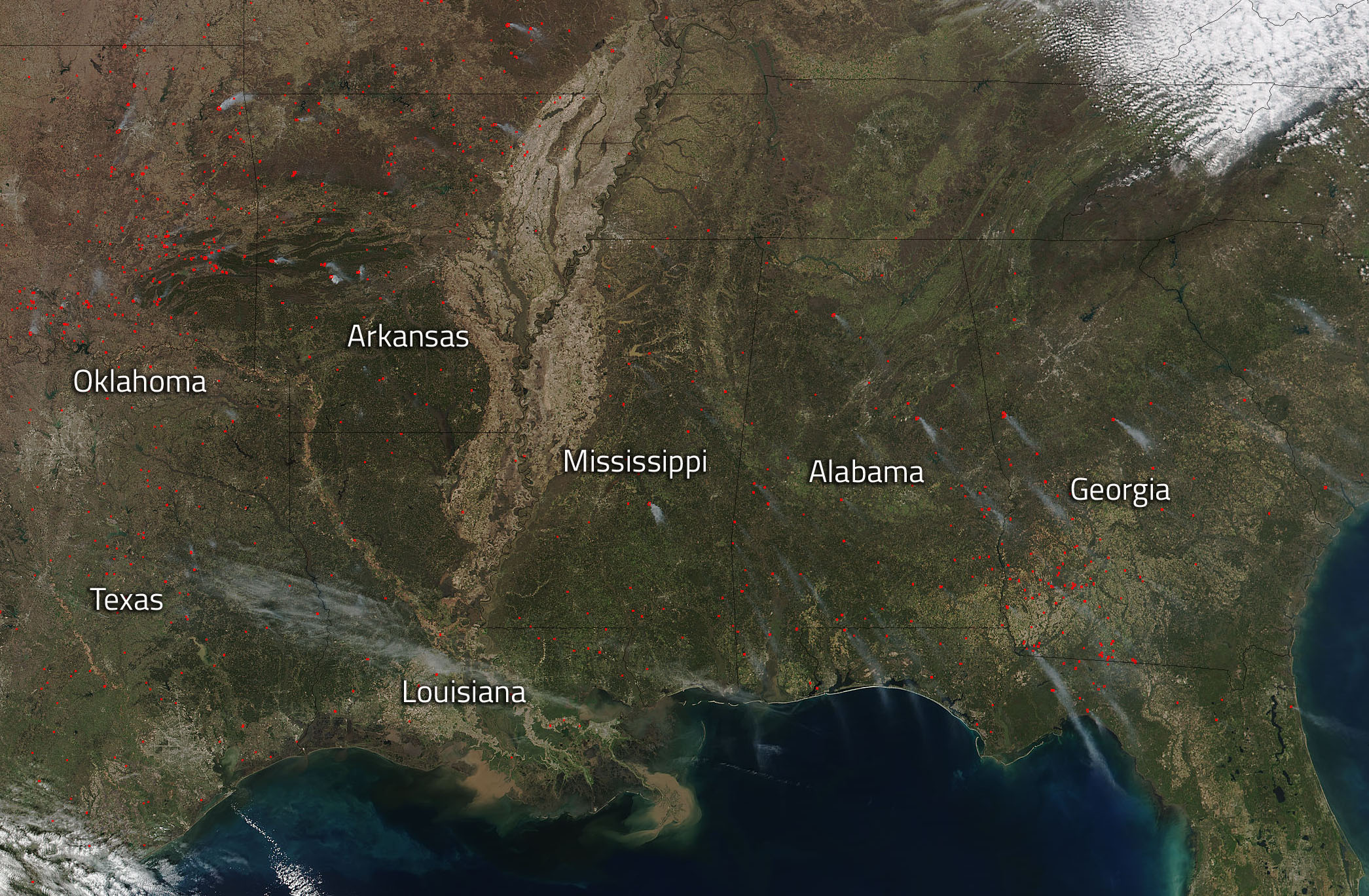 Southeastern Us Sees Wildfire Activity Nasa - Us-wildfire-activity-map
