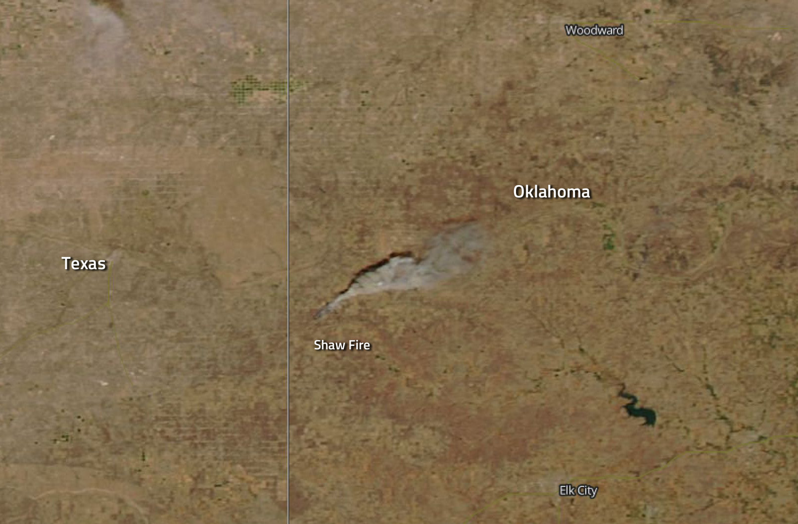 Oklahoma Sees Spate of Fires Including the Shaw Fire | NASA on a map of oklahoma, weather of oklahoma, world map of oklahoma, contour map of oklahoma, green map of oklahoma, detailed map of oklahoma, county map of oklahoma, physical map of oklahoma, aerial view of tulsa oklahoma, winds of oklahoma, aerial map of edmond oklahoma, seismic map of oklahoma, the map of oklahoma, hd map of oklahoma, topo map of oklahoma, elevation of oklahoma, street map of oklahoma, osage nation of oklahoma, pdf map of oklahoma, google maps oklahoma,