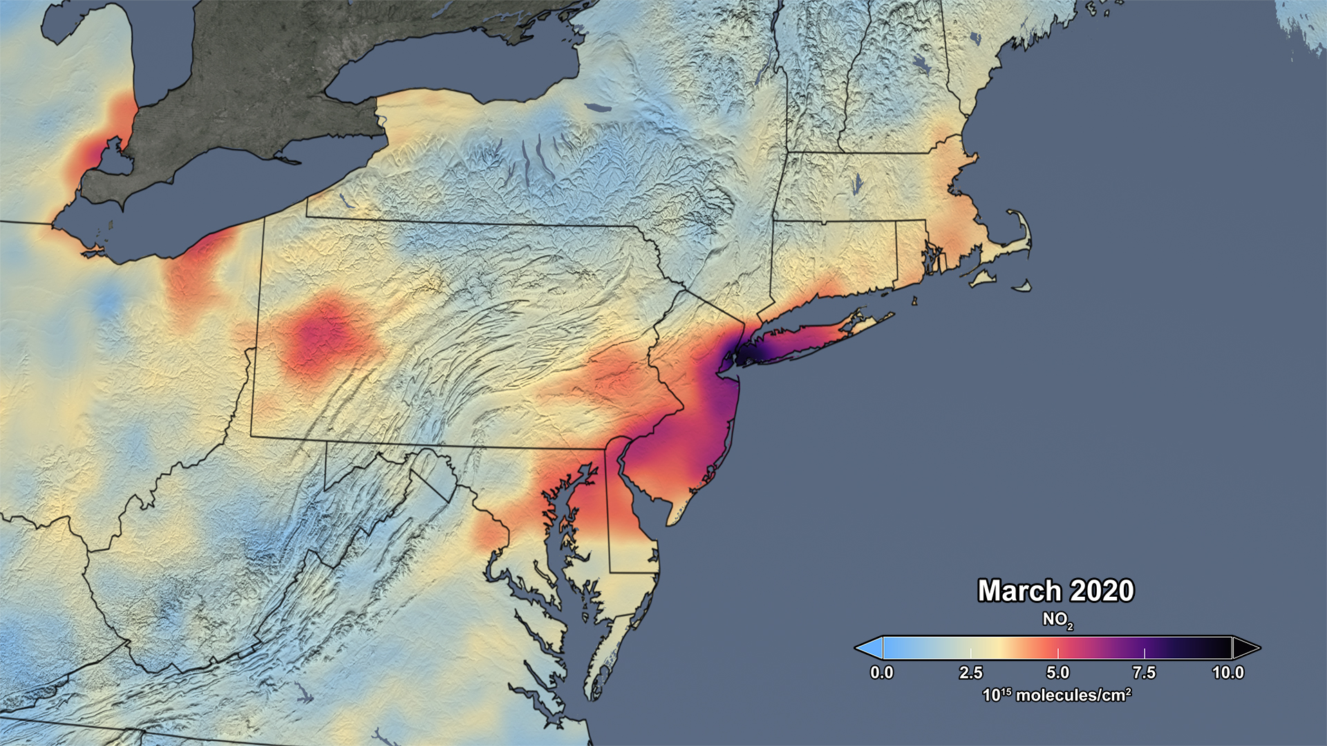 Image of: Data Shows 30 Percent Drop In Air Pollution Over Northeast U S Nasa